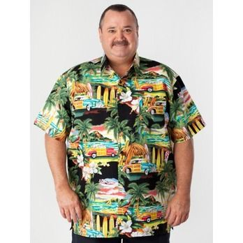 Big Mens Hawaiian Shirt - Black with Cars | Mens hawaiian shirts ...