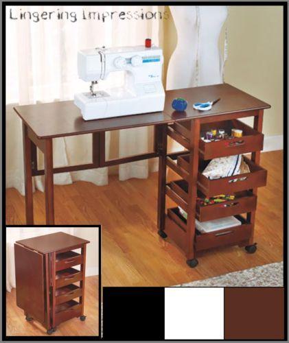 Fold Away Rolling Desk Craft Sewing Hobby Computer Storage Mobile  Workstation