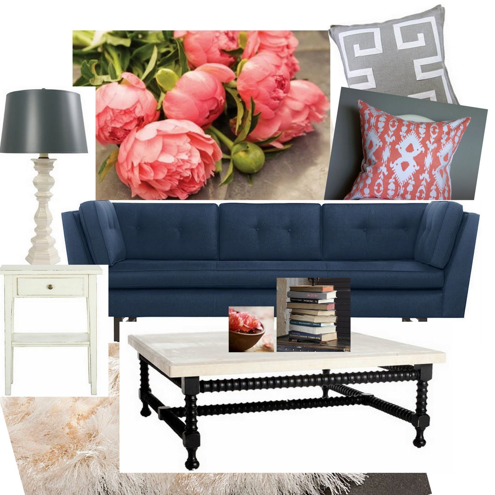 Coral And Navy With Gray As An Accent I Have A Navy Couch