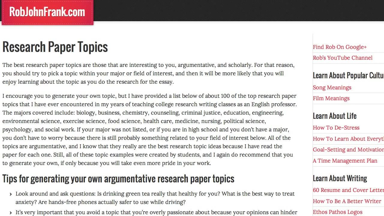 What Are Some Good Research Paper Topics Research Paper Essay Topics Essay