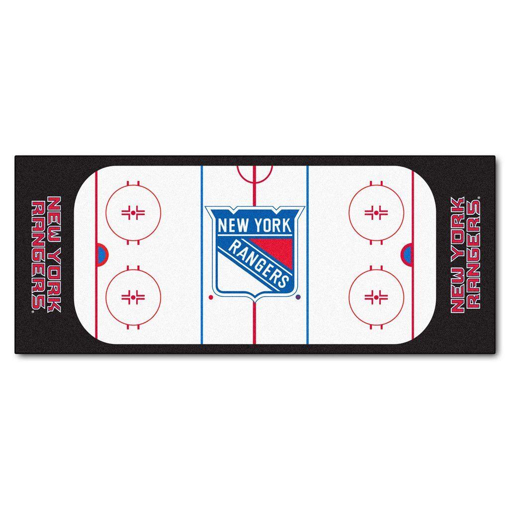 New York Rangers Hockey Rink Runner Rug