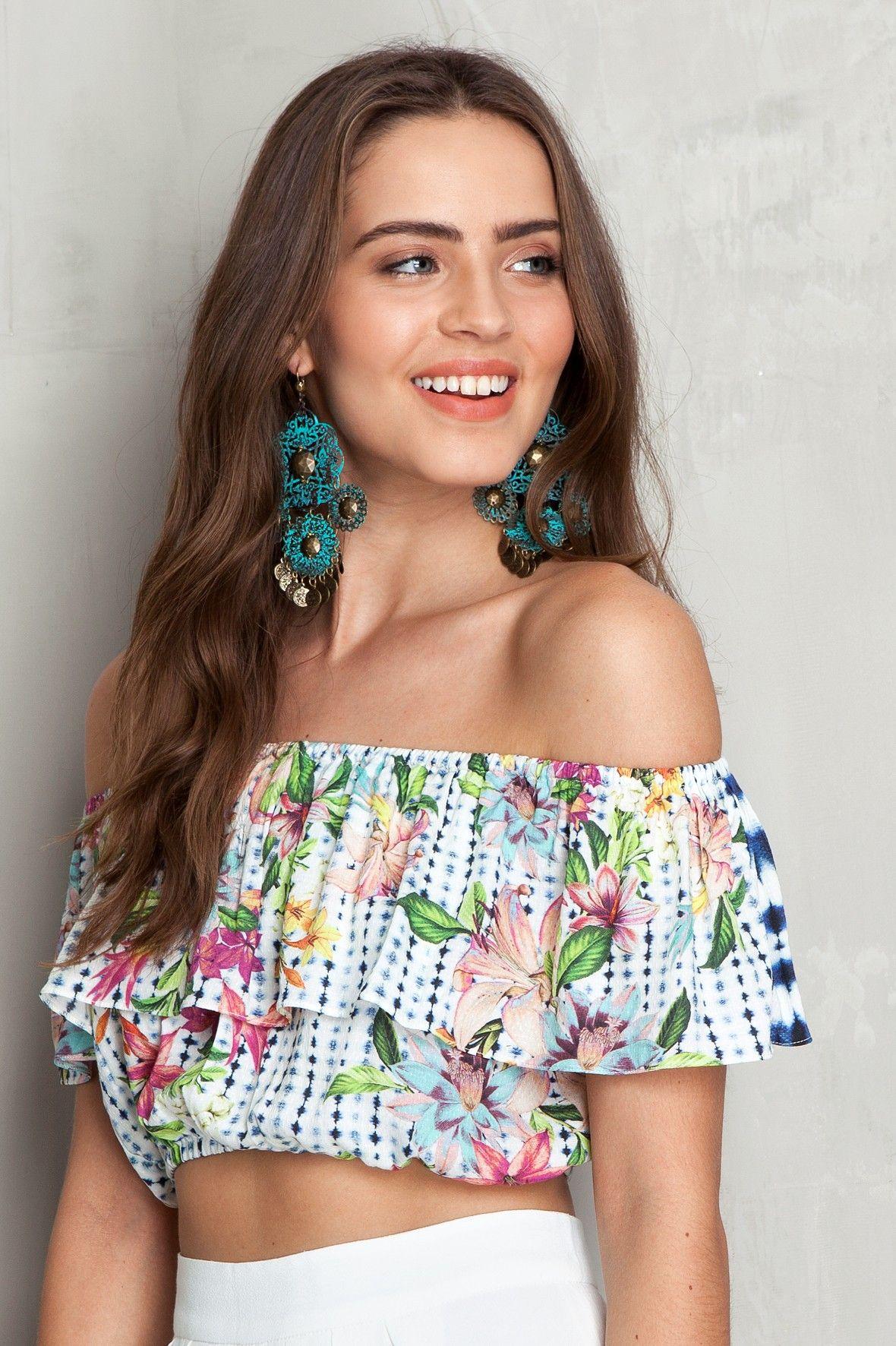 55601ebd6 Top ciganinha estampado navy | Dress to | festa junina | Fashion ...