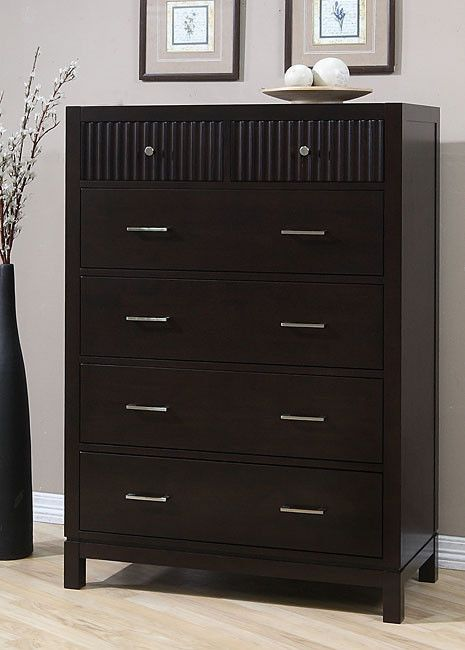 Wavelength Contemporary Brown Wood Finish 6 Drawer Chest Bedroom