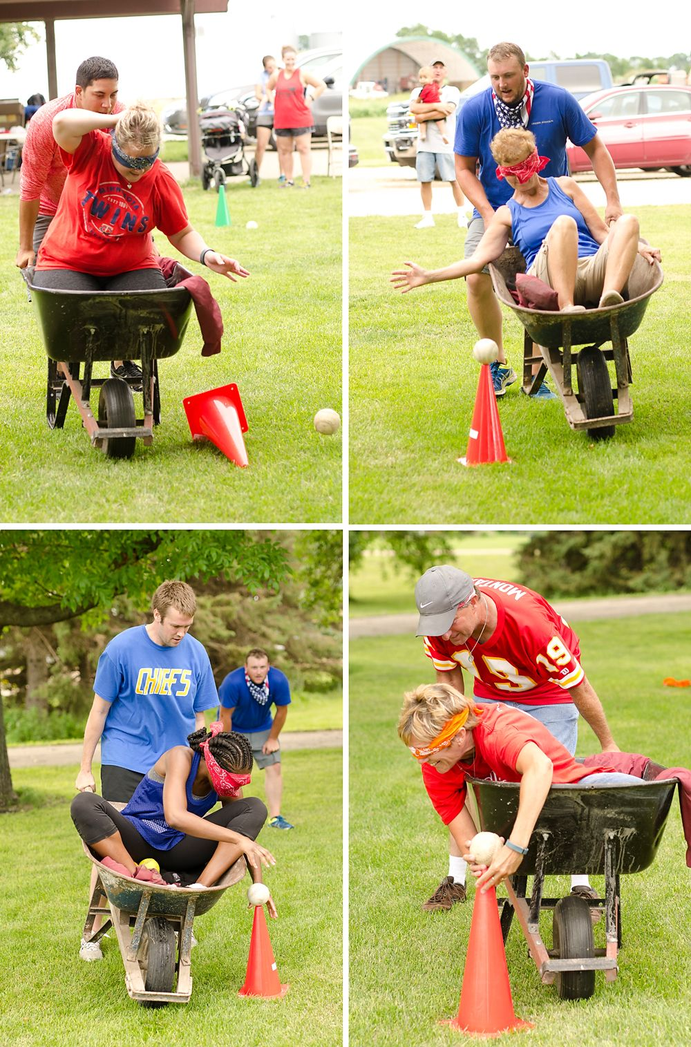 Adults And Kids Compete In A Variety Of Backyard Games Including Water  Balloon Relays, Jumbo