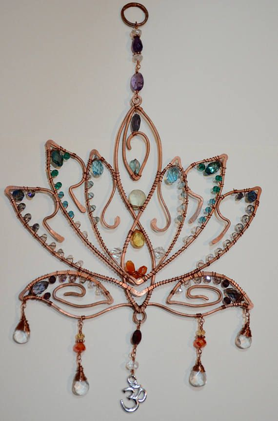 copper wire craft ideas sparkly lotus blossom gemstone suncatcher chakra 3701