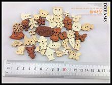 Cutedream rinfusa bottoni di legno natrual bottoni misti per le imbarcazioni 100 pz bottoni decorativi(China (Mainland))