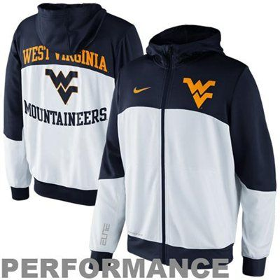 e5066a9a586 Nike West Virginia Mountaineers Hyper Elite Tournament Warm Up Performance  Full Zip Hoodie - White Navy Blue