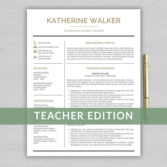 Teacher Resume Template For Word Resume Teacher Cv Teacher  All
