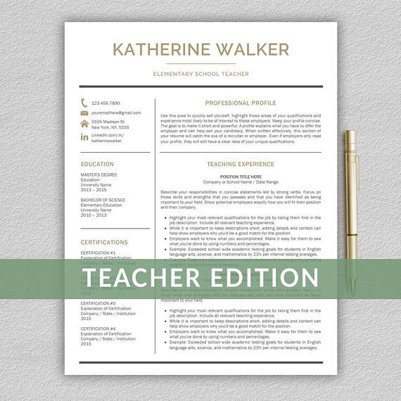 Teacher Resume Template for Word Resume Teacher CV Teacher | All ...
