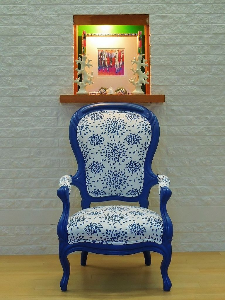 I reworked this Antique Chair in Blue with Albert Hadley Fireworks fabric -  oh so happy now. - Enjoy The Chair, Forget The Math Albert Hadley, Antique Chairs And