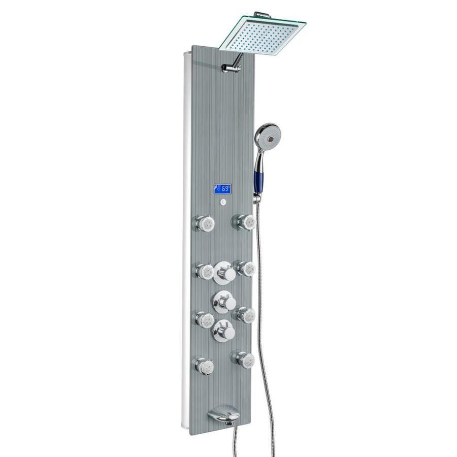 Akdy 52 In Grey Stripe Pattern Tempered Glass 8 Spray Shower Panel