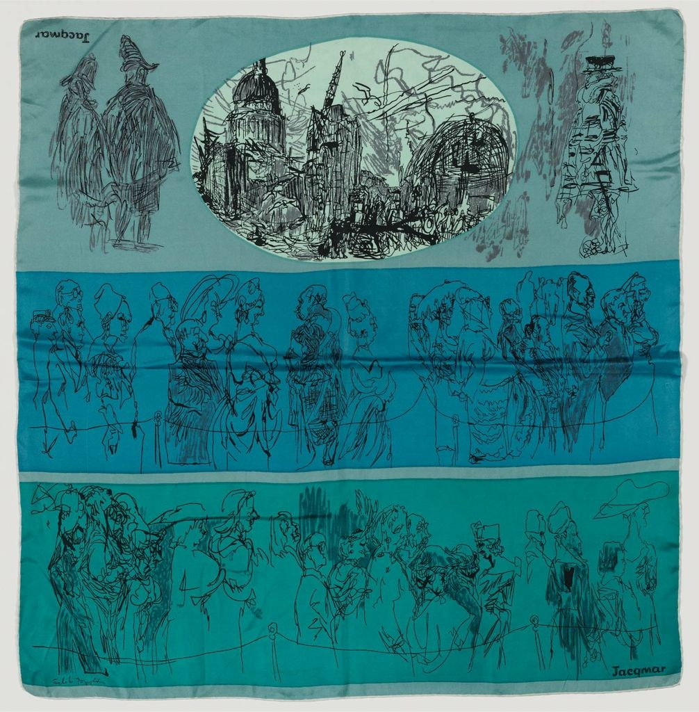 Silk scarf featuring London scenes, including St. Paul's Cathedral, bobbies, Beefeater guards, and people in queues, ca. 1944.  Scarf design by Feliks Topolski for Jacqmar.