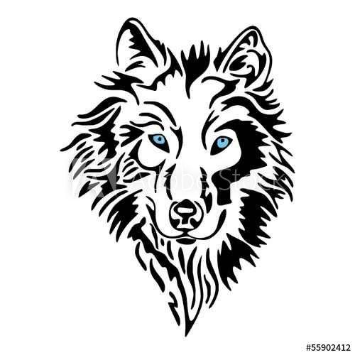 Wolf Head Sketch Tattoo Vector Wolf Stencil Wolf Tattoo Design Animal Outline