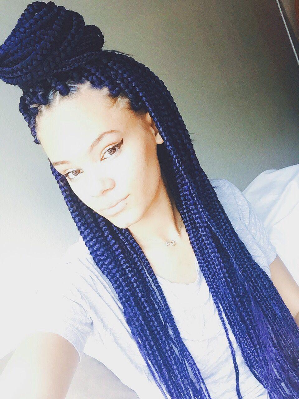 150 best Ombre braids images on Pinterest   Box braids ...  Blue Black Box Braids