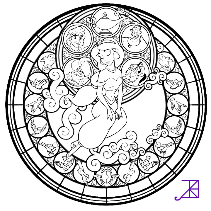 Jasmine Stained Glass Free Coloring Page