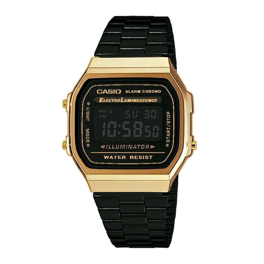 02ed18b66d0 CASIO A168WEGB-1Bef A168WEGB-1B VINTAGE BLACK   GOLD in 2019 ...