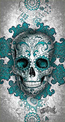 Sugar Skull Day Of The Dead Blue White Drawing Design Art Artwork