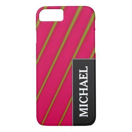#stripes - #Green Lines on Crimson Pattern & Custom Name iPhone 7 Case