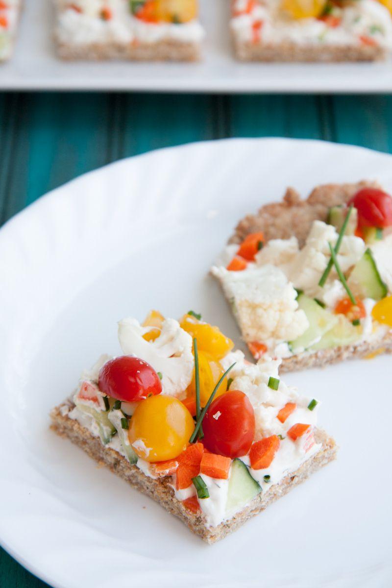 Veggie Pizza Squares (greek yogurt, cream cheese, lemon juice, chopped veggies, chives)