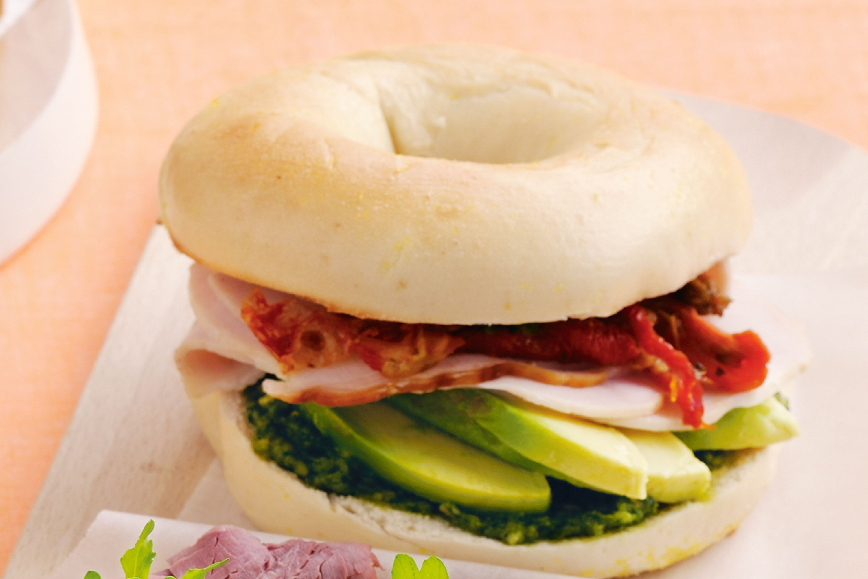 Bagel with Sun-Dried Tomatoes Provolone