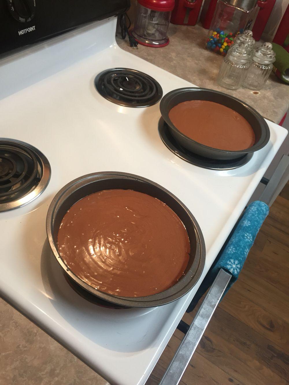 Chocolate cake soon to be