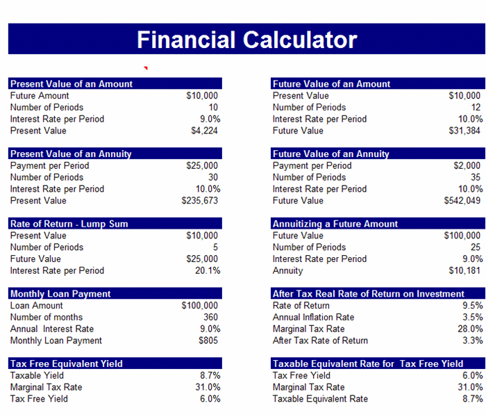 Sample Free Financial Calculator For Excel  Microsoft Word