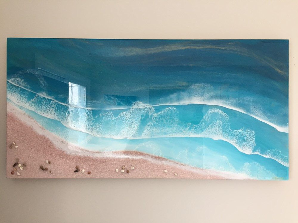 36 X18 Original Resin Pour Painting On Gallery Profile Birch