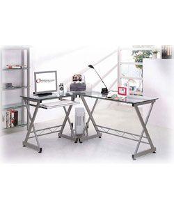 Deluxe Tempered Glass L Shaped Computer Desk | Becku0027s Room Ideas |  Pinterest | Desks, Office Desks And Room Ideas
