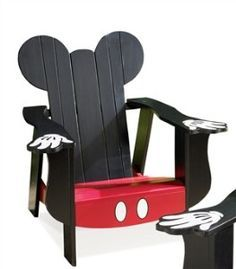 Disney Mickey Mouse Adirondack Chair With Black Finish And Red Seat