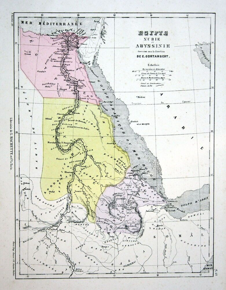 Egypt Agypten Nubia Abessinien Ethiopian Weltkarte Karte World Map