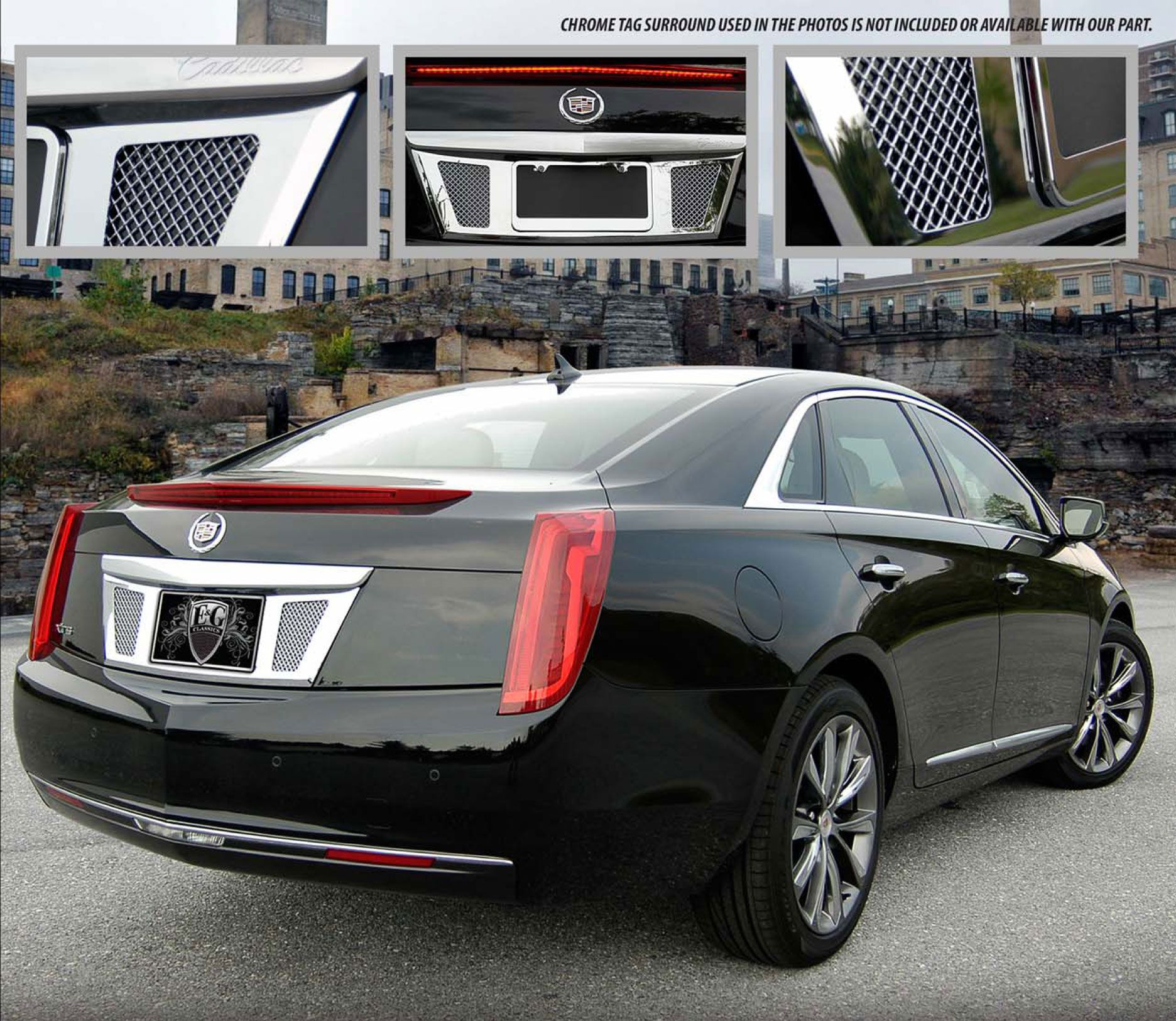 2013 Cadillac XTS Classic Chrome Fine Mesh Style Rear License Tag Surround. Call for part number: 1001-0710-13.
