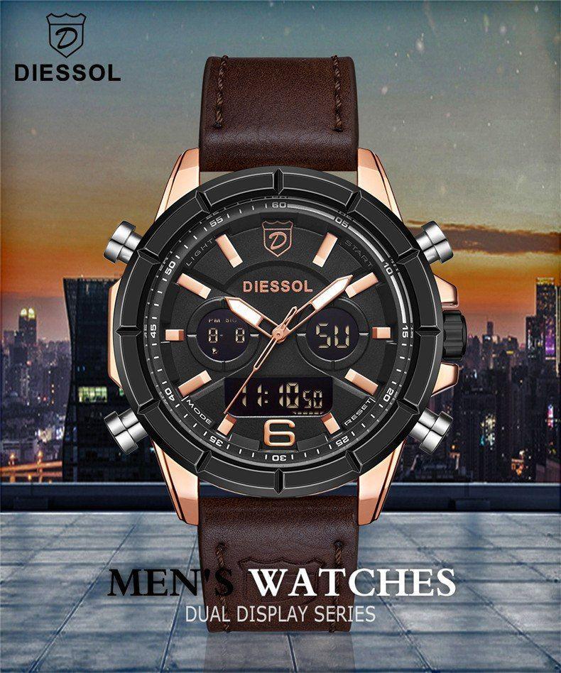 49c0207270804 Mens Watches DIESSOL Top Luxury Brand Men Leather Sports Watches Men s  Quartz LED Digital Clock Waterproof