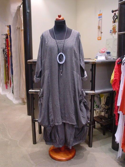 Kekoo Schicke Lagenlook Tunika Kleid Batik Grautone 1 Mode