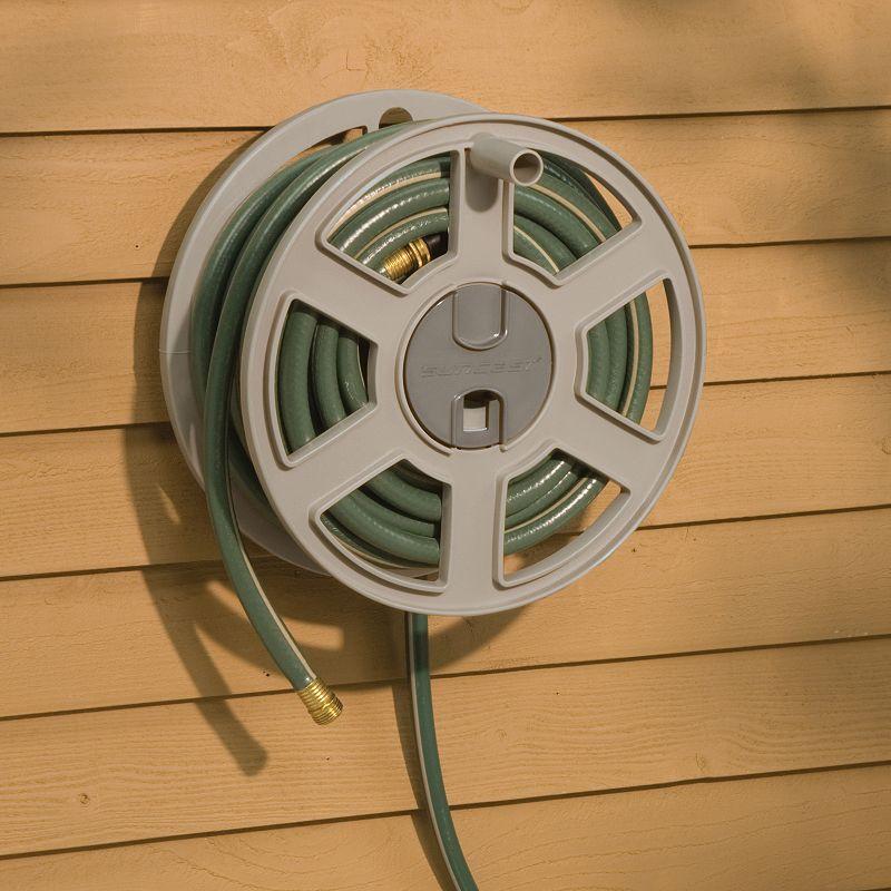 Suncast Sidewinder 100 Ft Garden Hose Reel Outdoor Beig Green