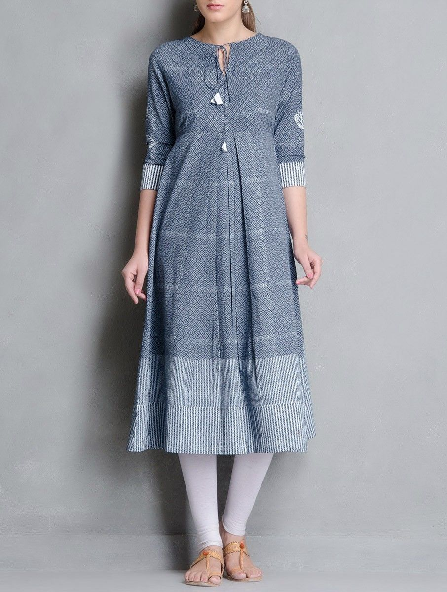 Buy Indigo White Block Printed Pleated   Tie Up Detailed Cotton Kurta  Apparel Tunics Kurtas Online at Jaypore.com 13179179c