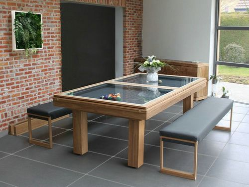 Glass Pool Table With Bench