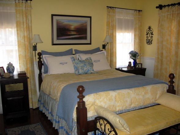 country blue bedroom decorating ideas | yellow toile redo