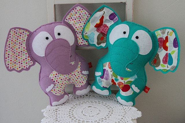 Lavender and mint green elephants  by Katia Donohoe, via Flickr