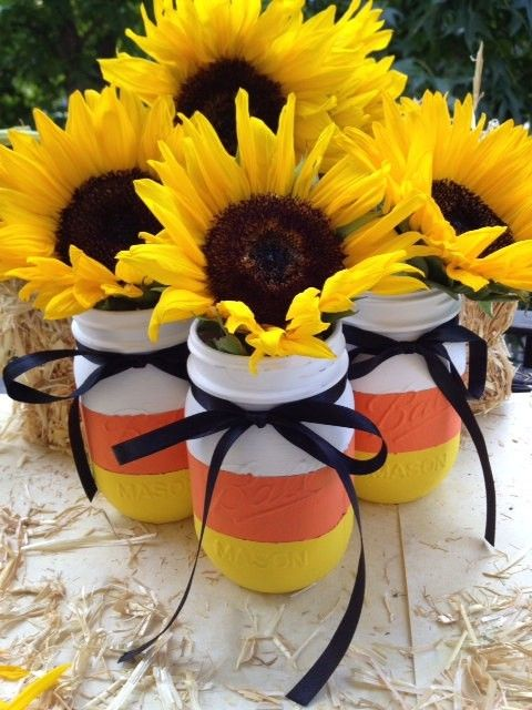 Halloween Decor Ideas Painted candy corn mason jars for Halloween - indoor halloween decoration ideas