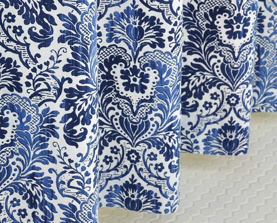 Navy Blue Damask Shower Curtain LINEN 72 X 72 By PondLilly, $124.99