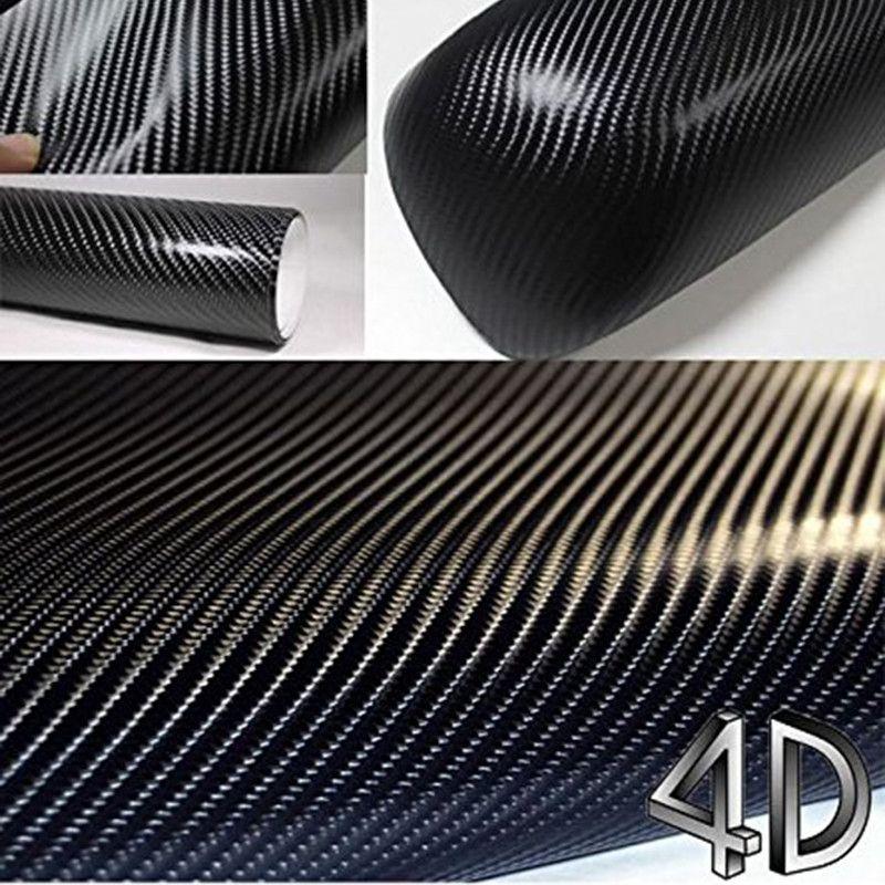 12 inch X 60 inch Waterproof DIY Car Sticker Car Styling 4D Thicken 3M Car Carbon Fiber Vinyl Wrapping Film