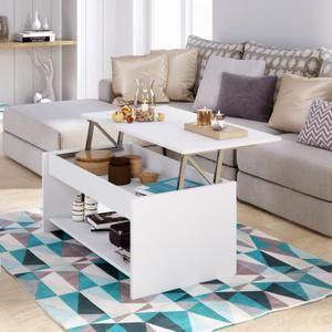 Happy Table Basse Relevable Style Contemporain Blanc Mat L 100 X L 50 Cm Table Basse Transformable Table Basse Relevable Table Basse