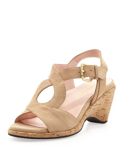 b783d804eff Taryn Rose Marianna suede sandal.2 34 corkwrapped wedge heel.Golden buckle  adjusts ankle strap.Poron174 cushioned leather footbed.Rubber rose tread  sole for ...