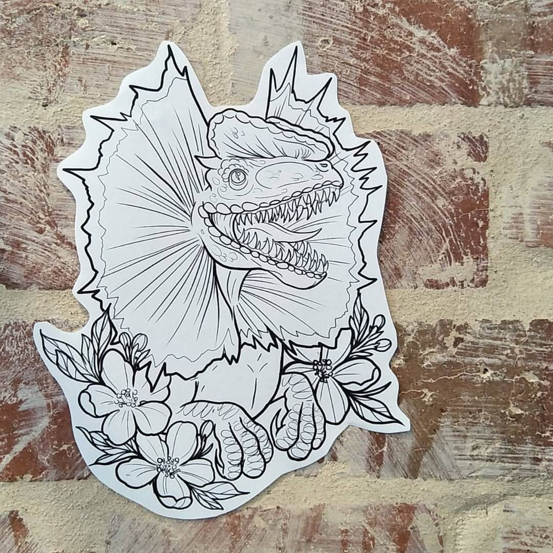 My favorite Jurassic Park Dino was always the acid spitting Dilophosaurus. If your are keen for some bright frills this design available… #dinosaurtattoos