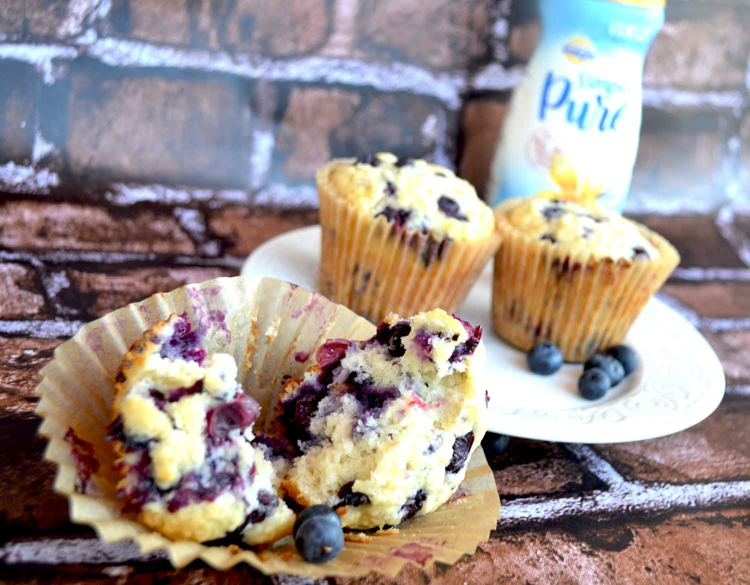 Easy light blueberry muffin recipe with International Delight Simply pure vanilla Creamer and coconut oil.