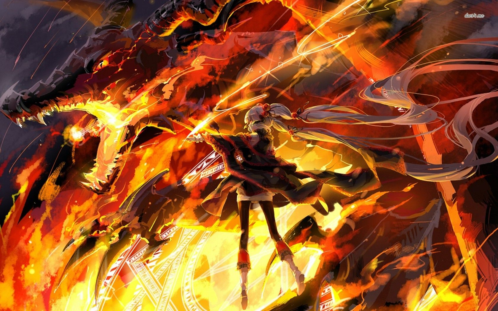 Girl Fighting The Fire Breading Dragon Hd Wallpaper Fire Warrior Warriors Wallpaper Warrior Girl