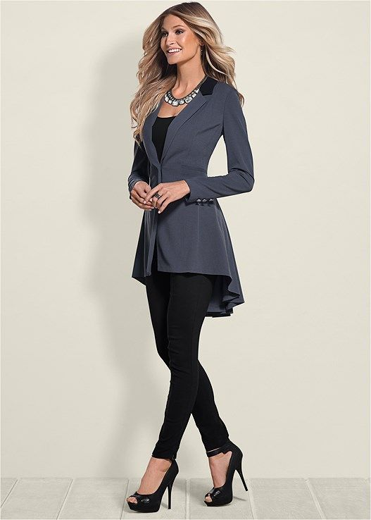 cf925514fee Venus Women s Plus Size Long Ruffle Back Blazer Jackets   Coats - Grey