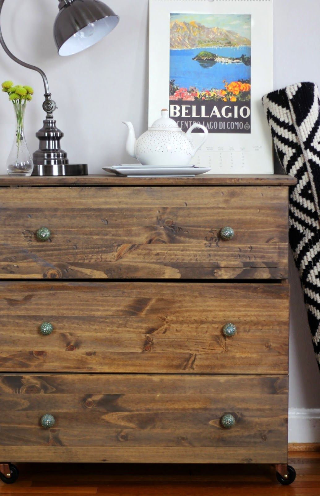 This is the Ikea tarva nightstand shown with paint and a