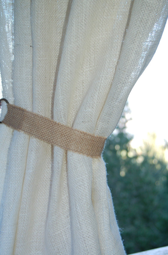 Rustic Burlap Curtain Tie Back With Metal Rings 20 Long In Ivory White Or Natural For Lightweight Small Panels Priced Per Tieback Curtain Tie Backs Diy Curtain Tie Backs Burlap Curtains