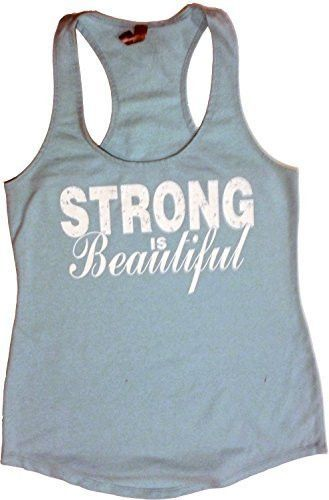 """Women's Workout Fitness Racerback Tank - """"Strong Is Beautiful"""" - 4.9 oz - 65% polyester/35% combed ring-spun cotton jersey Hand printed on incredibly soft, comfortable racerback terry tank, perfect fo"""